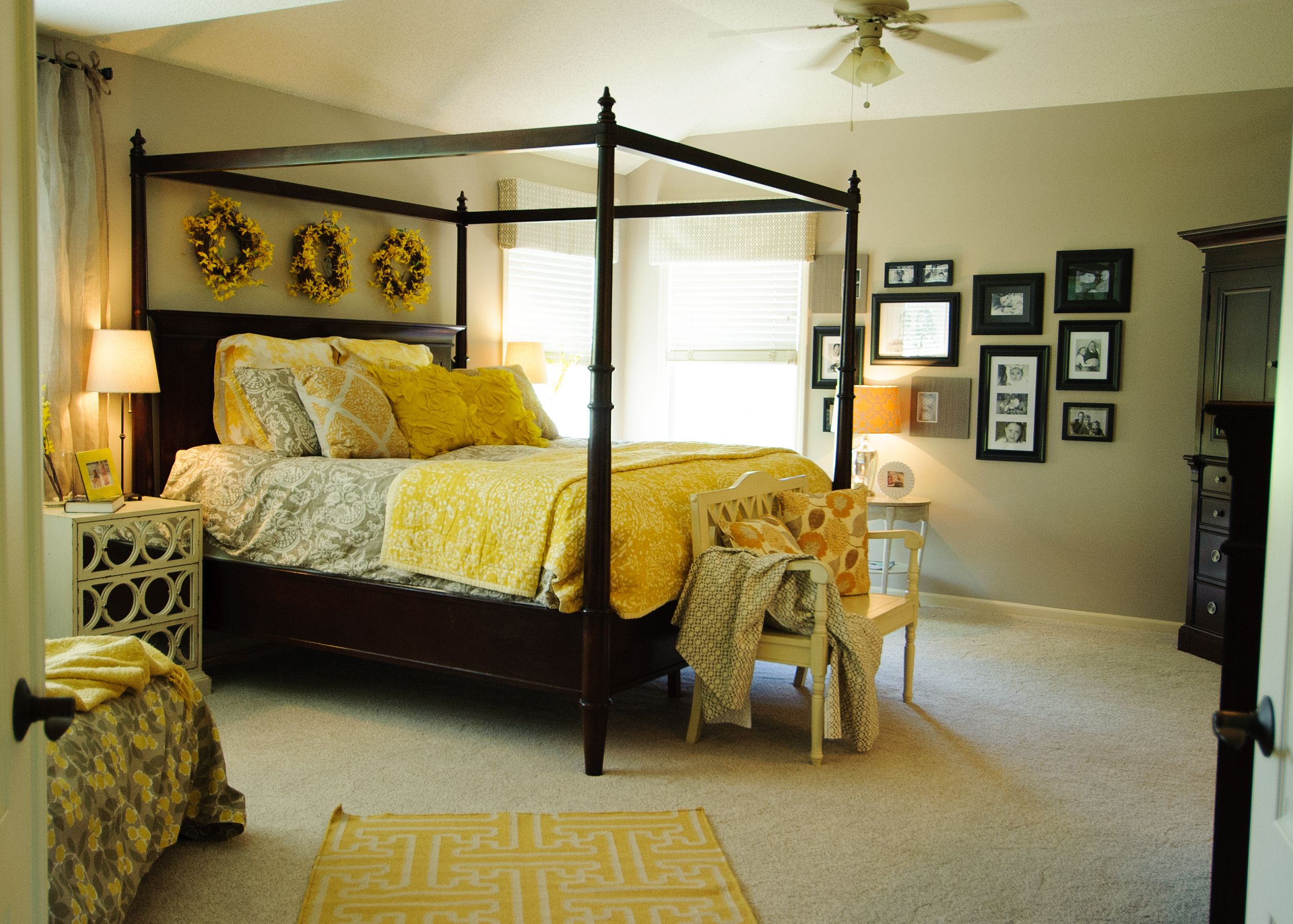 Master Bedroom... Like the picture frame wall, canopy bedding, and ...