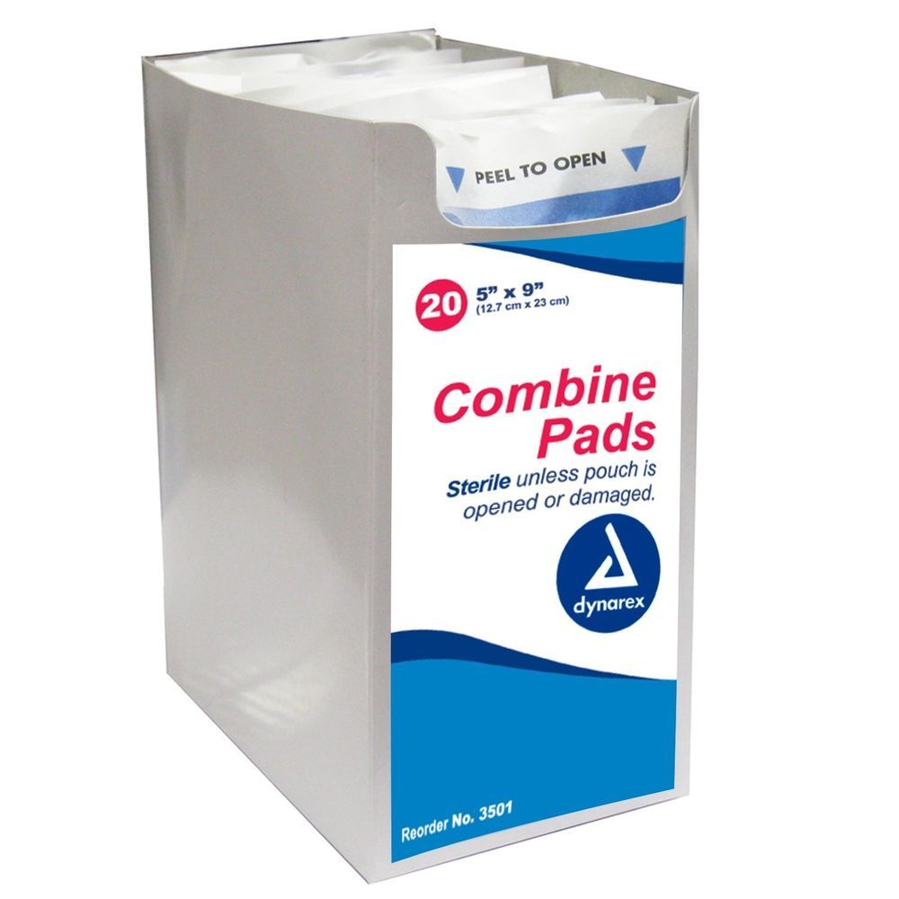 20 Abdominal Combine Pads 5x9 Bandages Sterile Wound Dressing Drain Dynarex 3501 #Dynarex