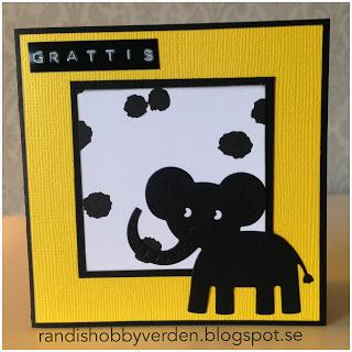 Randis hobbyverden: Barnekort med elefant i gult