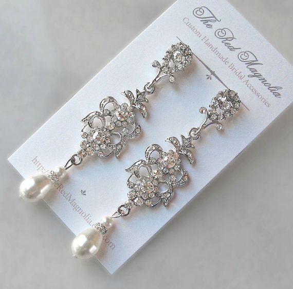 Swarovski Crystal & Pearl Earrings, Chandelier Earrings, White, Ivory, Cream, Champagne, Vintage Style Rhinestone Earrings - CONSTANTINA