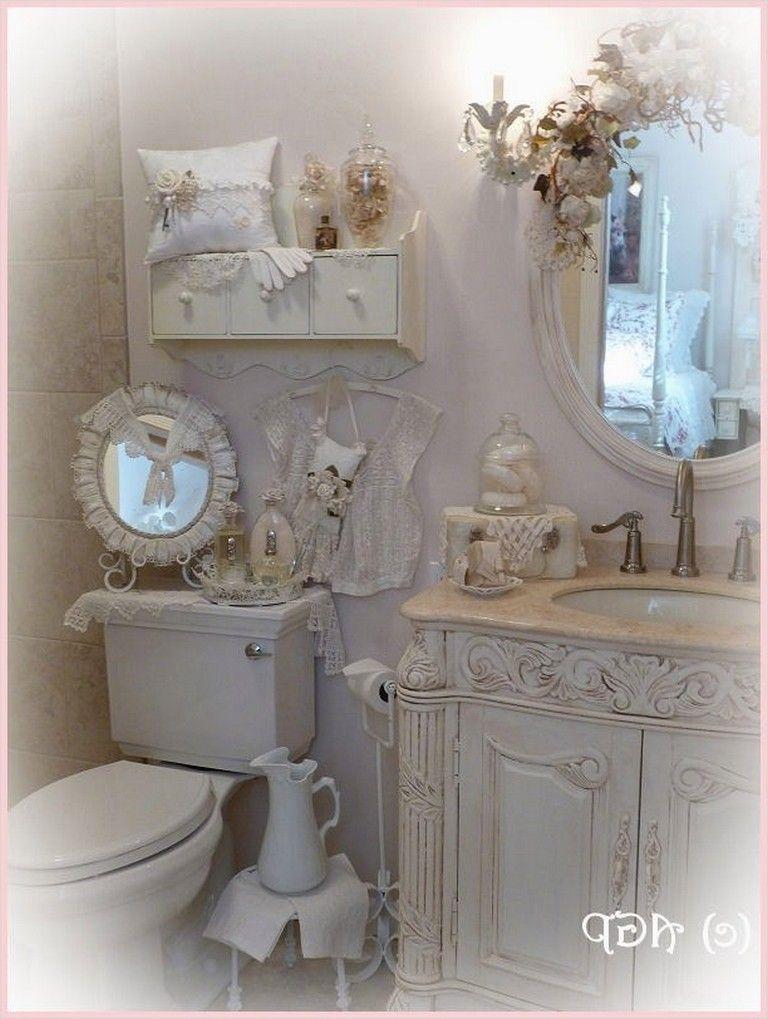 40 Elegant Shabby Chic Bathroom Decorating Ideas Bathroomdecor Bathroomideas Shabb Shabby Chic Bathroom Accessories Shabby Chic Bathroom Chic Bathroom Decor