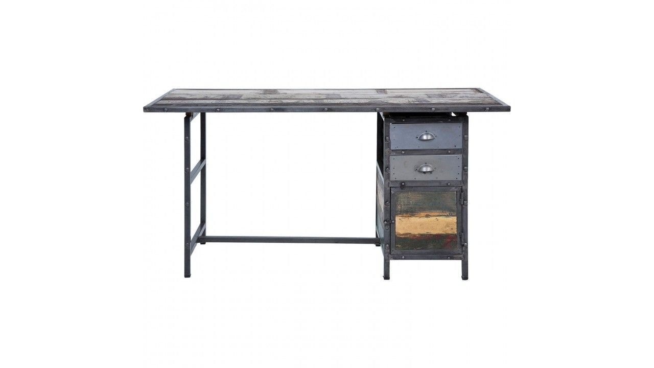 Bureau en bois recycle et acier vielli workshop kare design