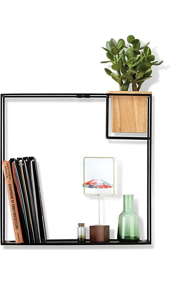 Umbra Cubist Floating Shelf With Built In Succulent