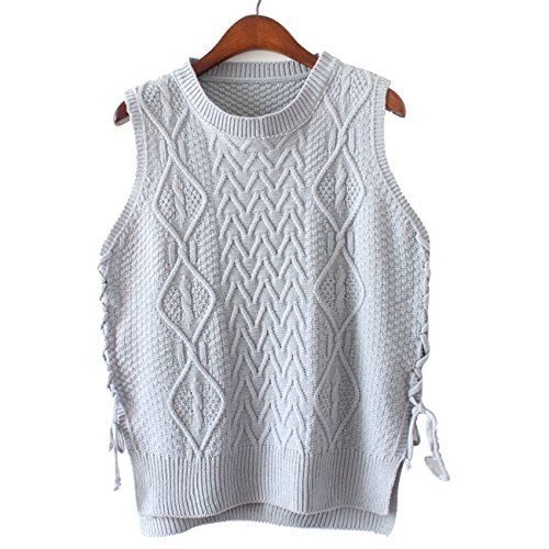 Sanifer Women's Side Strapped Argyle Sweater Vest for Petite Teens ...
