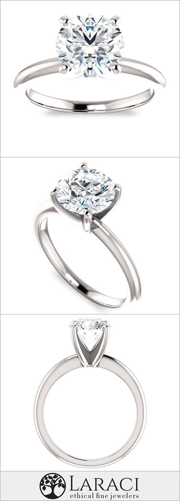 f3464b9f52 14K White Gold Solitaire Engagement Ring set with a 1.9ct (8mm) Round  Forever
