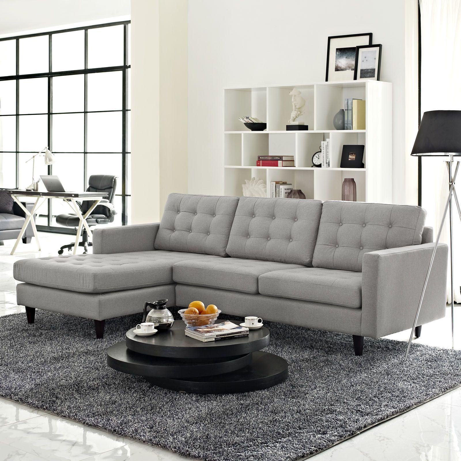 Era Upholstered Sectional Sofa Light Gray