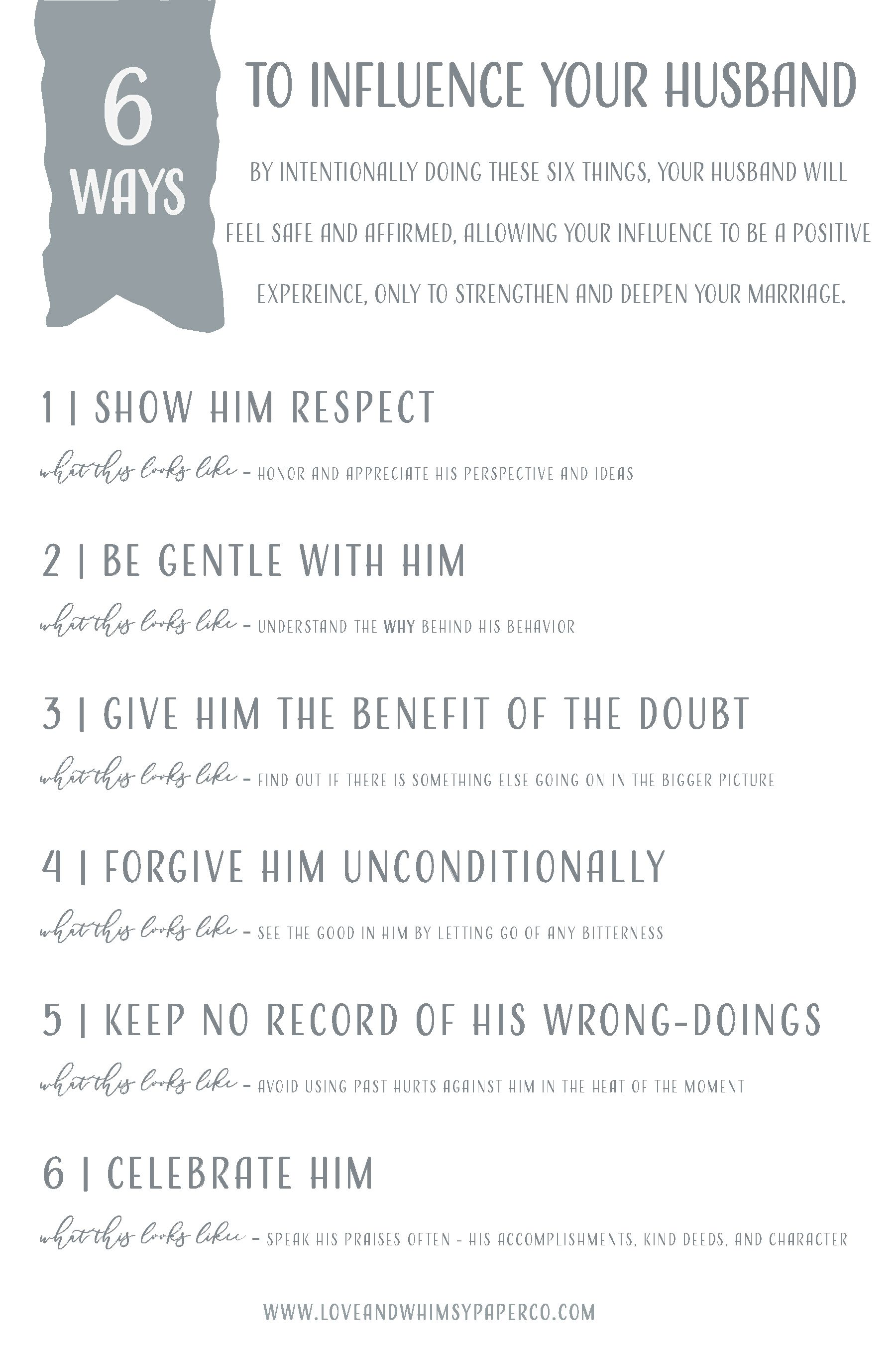 6 Ways To Influence Your Husband from Love and Whimsy Paper pany