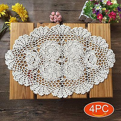 Elesa Miracle Handmade Beige Oval Crochet Cotton Lace Table Placemats Doilies