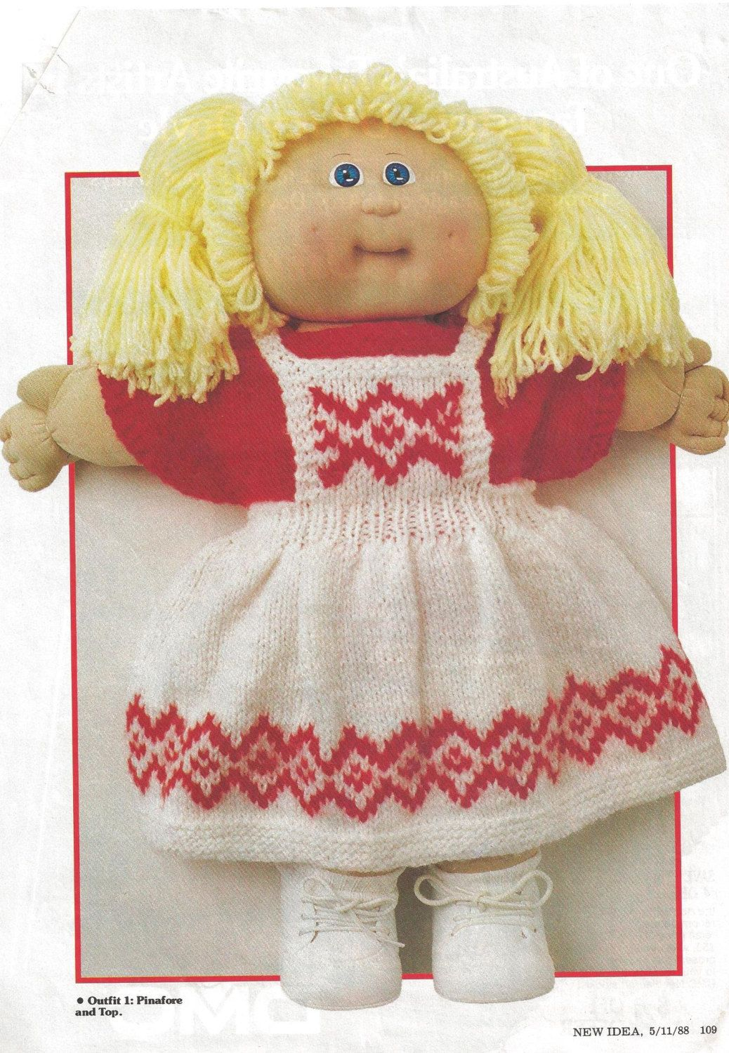 Knitting Pattern Vintage Cabbage Patch Doll Four Outfits 1988 New ...