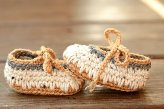 7e8d4bb3b Crochet Baby Booties - Baby Ballet Moccasins Earthy Brown Natural ...
