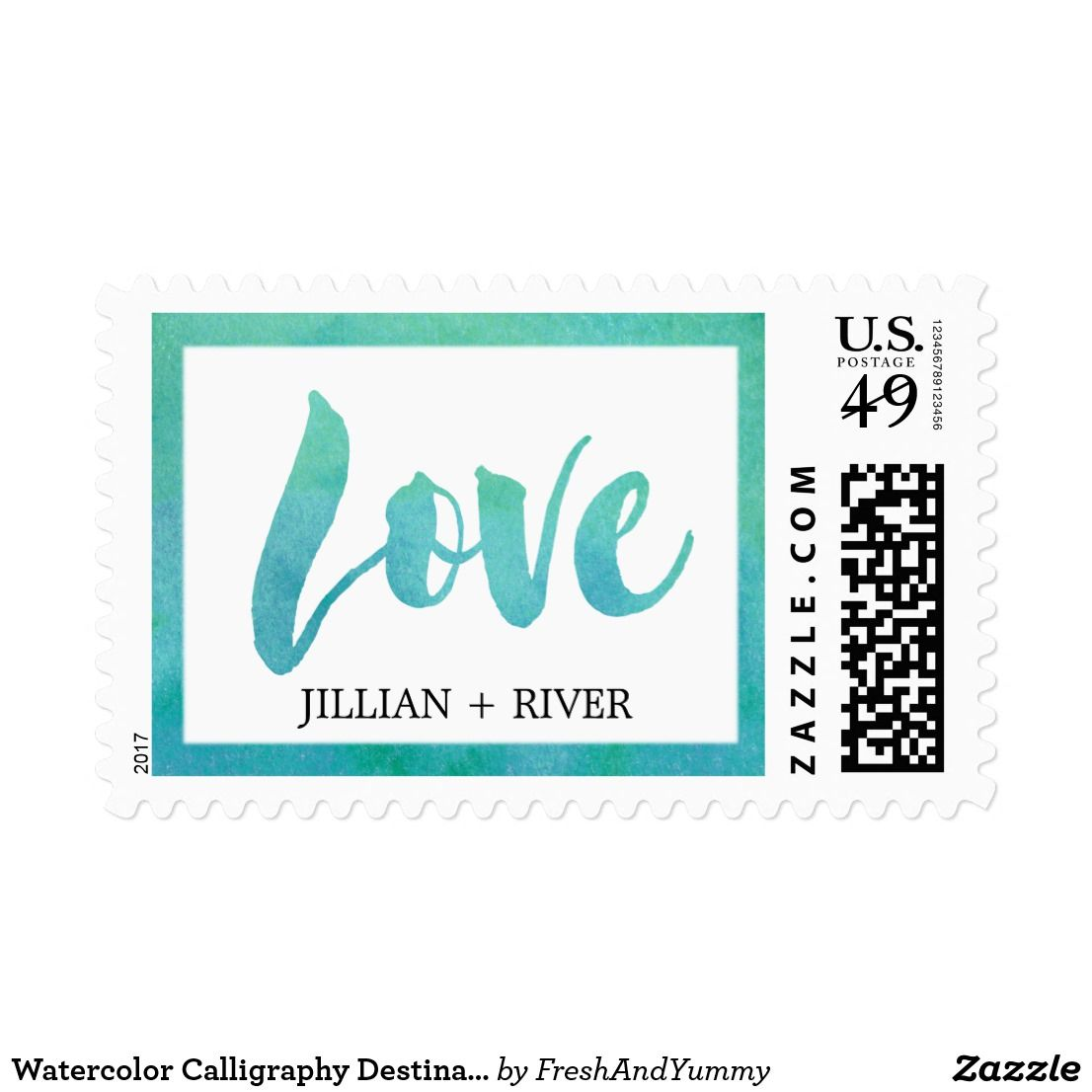 Watercolor Calligraphy Destination Love Wedding Postage These
