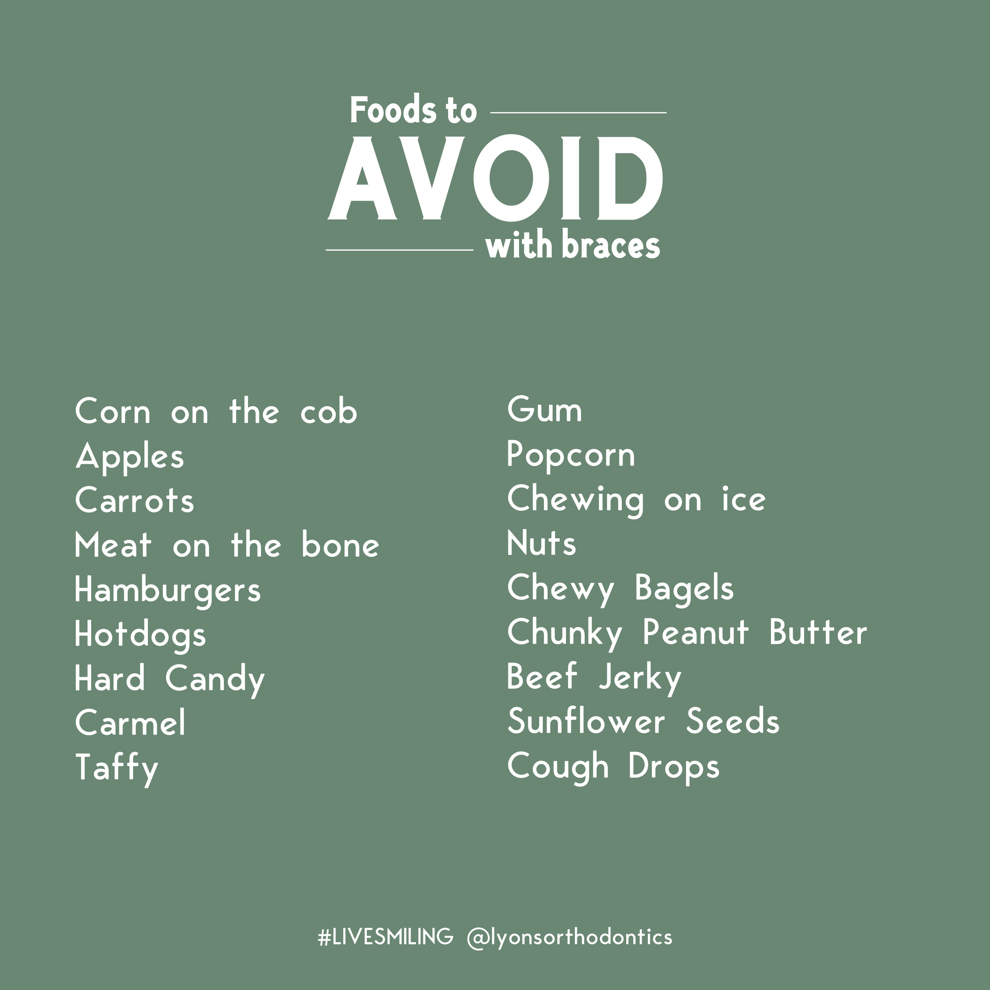 Eating with braces avoid these foods your diet is