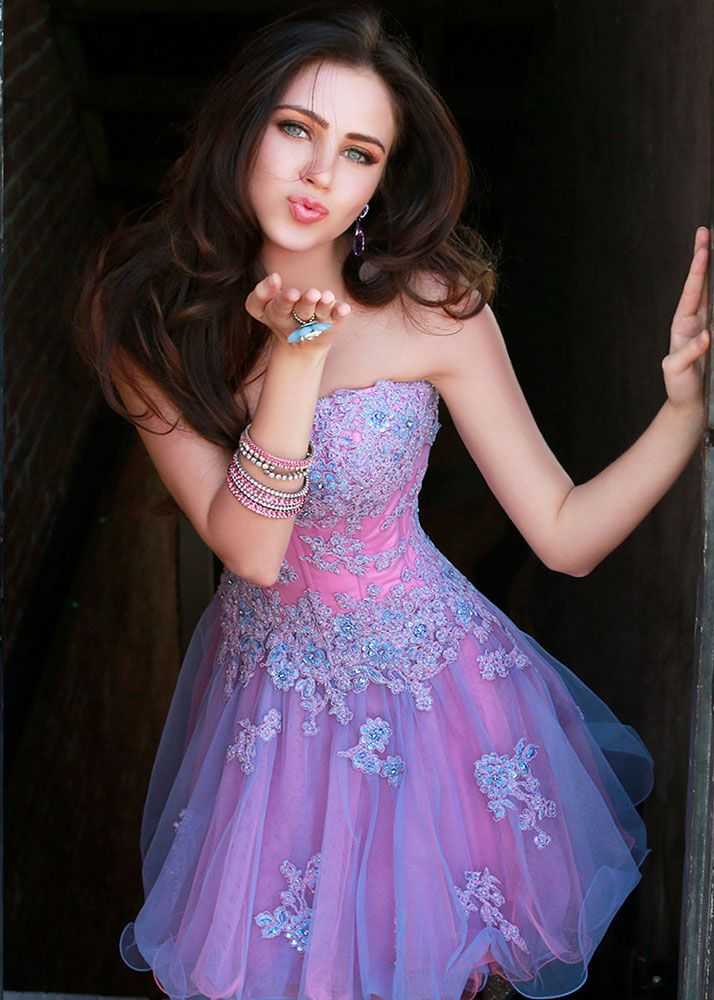 T back prom dress purple