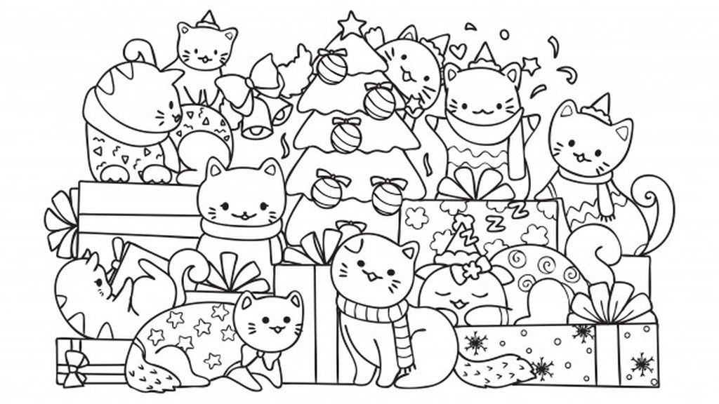 Cute Cats And Christmas Tree Paid Affiliate Paid Cats Kids Christmas Coloring Pages Printable Christmas Coloring Pages Merry Christmas Coloring Pages