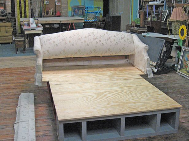 how to build a victorian bed frame transform an old pull out sofa into a - Bookshelf Bed Frame