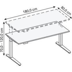 Hammerbacher Xmka19 höhenverstellbarer Schreibtisch grau rechteckig Hammerbacher