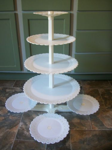 8 tier vtg lace wilton wedding cake plates & pillars center maypole ...