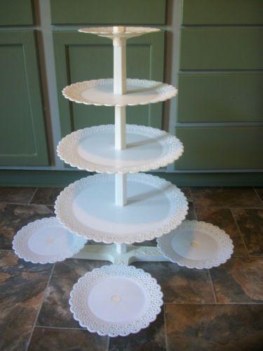 8 tier vtg lace wilton wedding cake plates & pillars center maypole ...