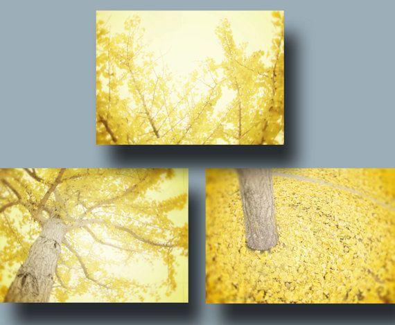 Yellow Wall Art Set of Three, Yellow Tree Photography, Lemon Yellow ...