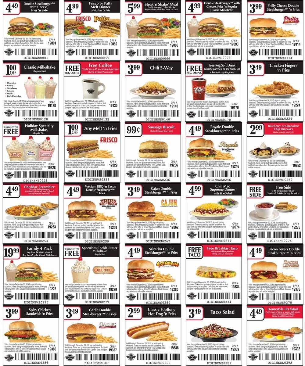 picture about Steak and Shake Coupon Printable called Steak N Shake Discount coupons Printable - 12 months of Refreshing Drinking water