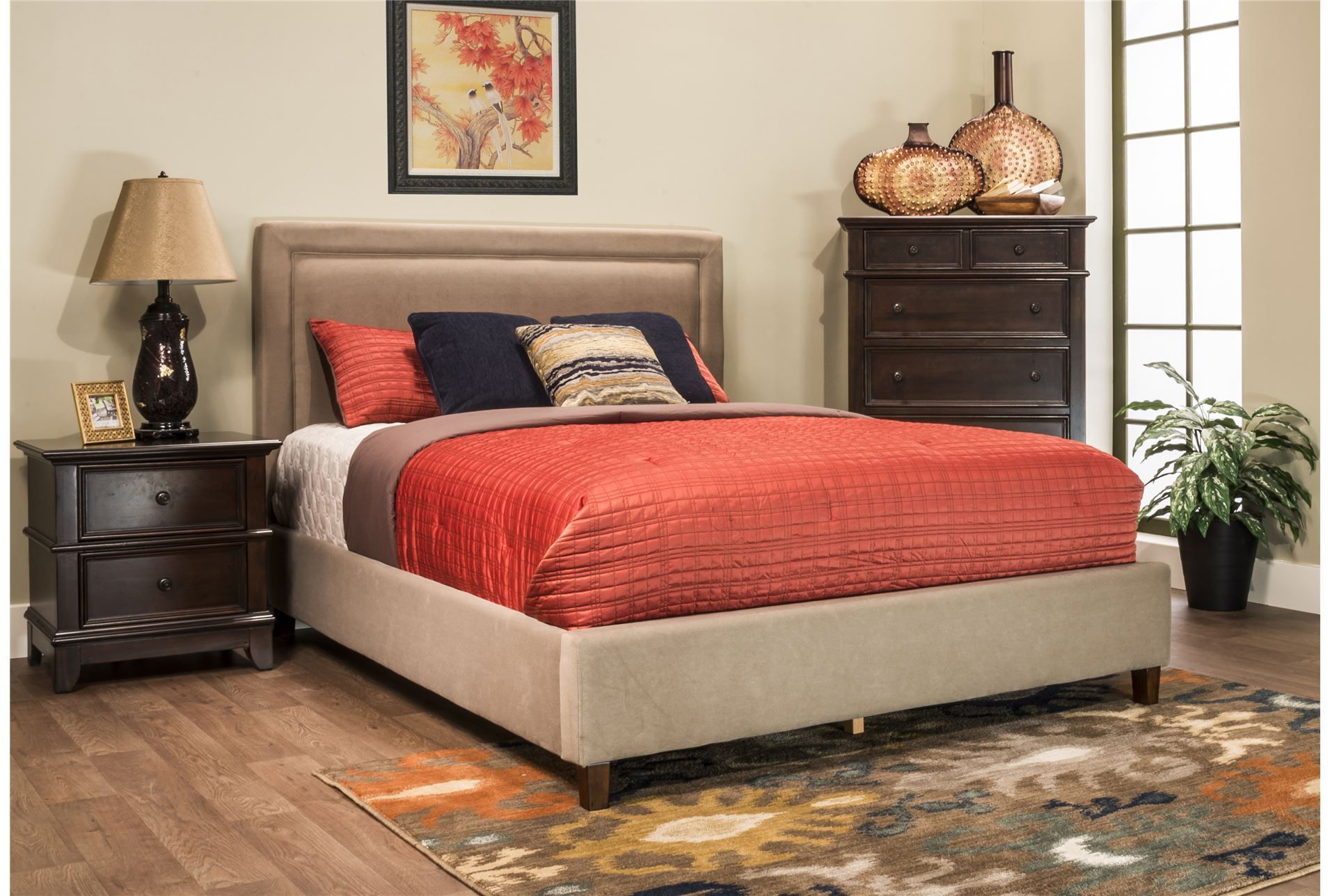 Lindsey California King Upholstered Panel Bed (With images