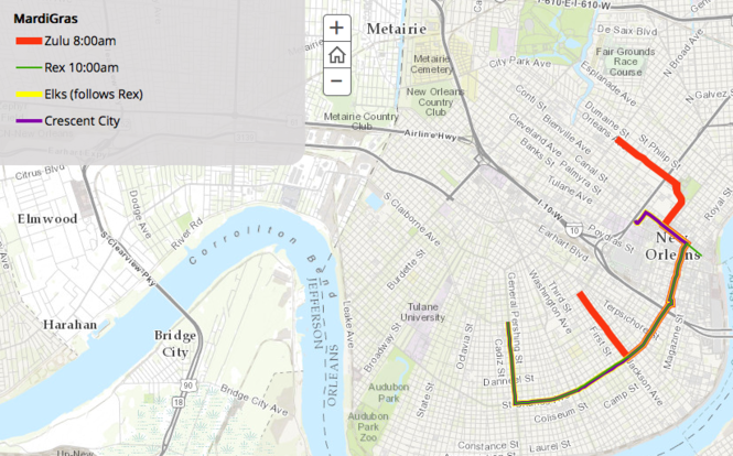 New Orleans Parade Routes Map Interactive Mardi Gras parade map details New Orleans routes