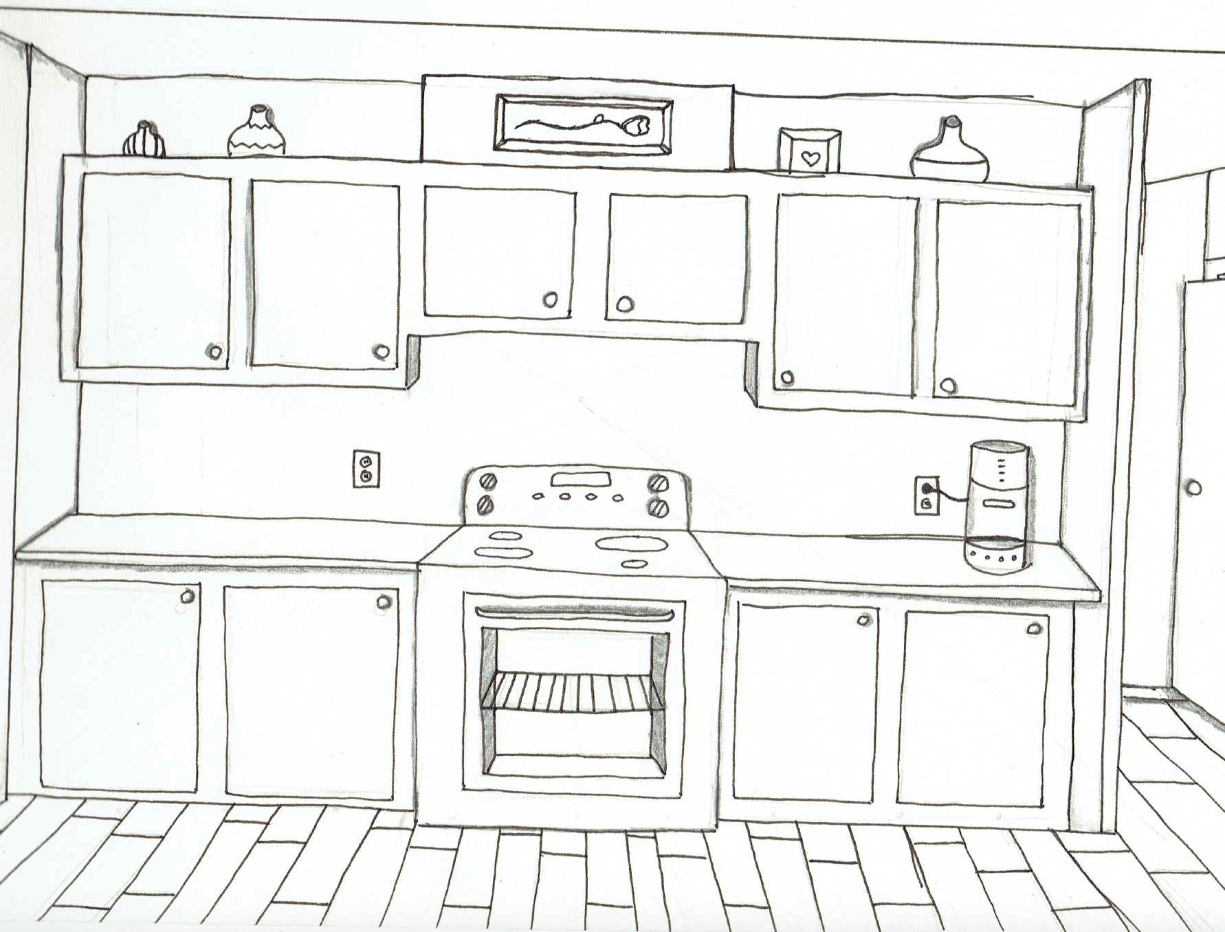 One Point Perspective - Kitchen | My Art and Drawing Exercises ...