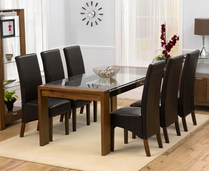 Arturo Rectangle Walnut Glass Top Dining Table And 8 WNG Chairs U2026 |  Pinteresu2026