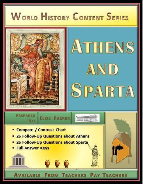 Athens and Sparta Compare and Contrast Activity Set | World