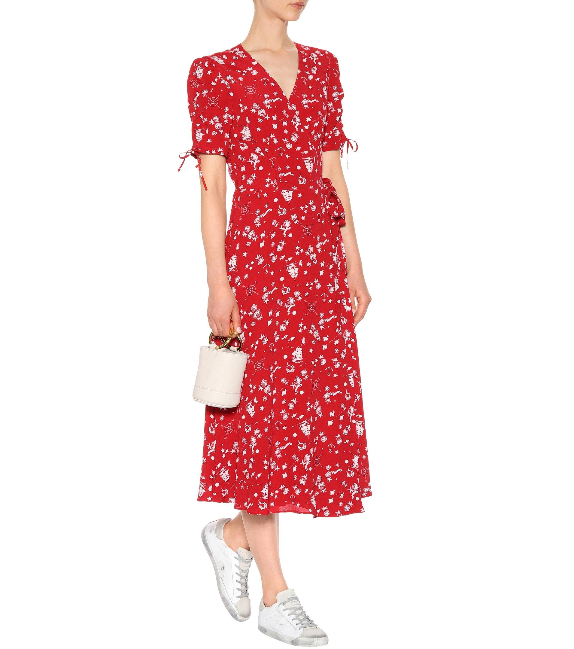 8fdf4432886 Red printed crêpe wrap dress