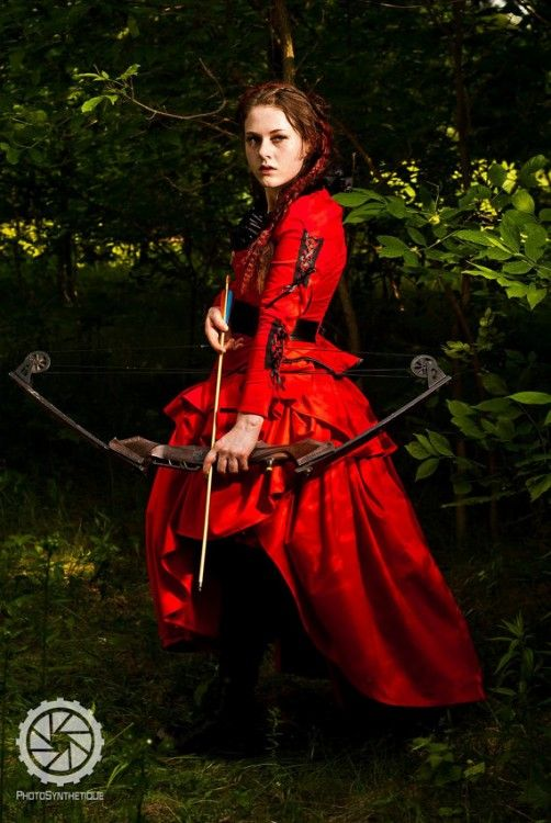 SALE Hunger Games Wedding Dress Corseted Steampunk Red And Black READY To Ship Medium