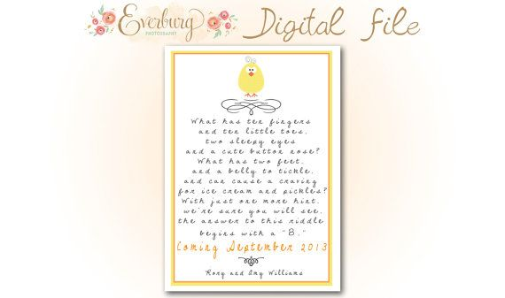 Digital Card Yellow Baby Riddle Pregnancy by EverburgPhotography, $14.00