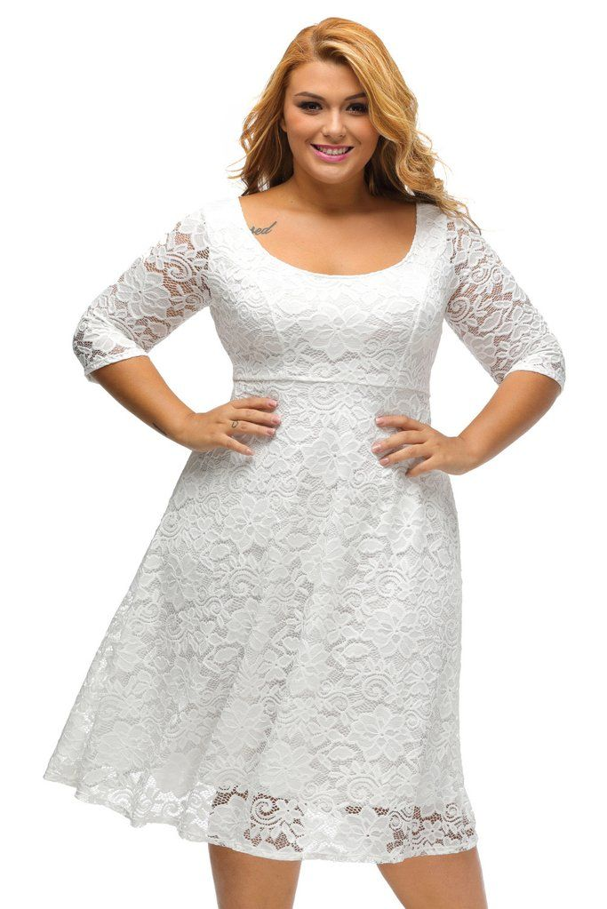40d66771dff5 This gorgeous plus size fit & flare dress features a beautiful floral lace  fabrication, round neckline with V back, sheer quarter sleeves, and  midi-length f