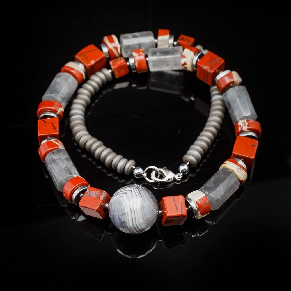 "Beads ""Women's charism""     Material: silver, agate, hematite, quartz, hair-jasper, quartz crystal hair-worm  Size: 44   Style: naturalism"