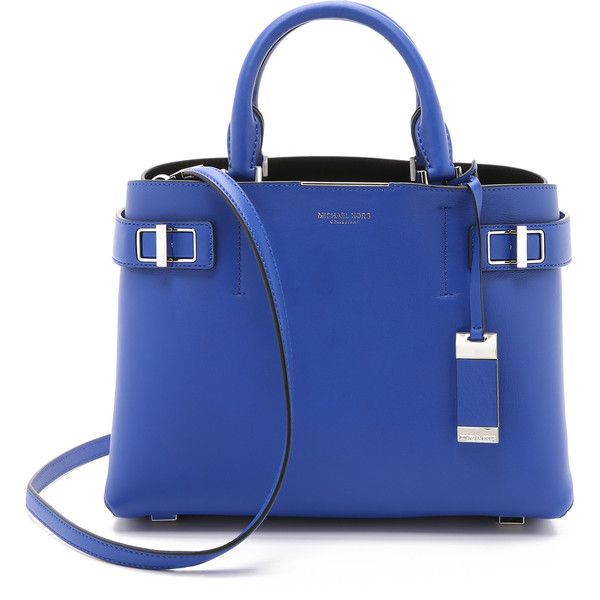 Michael Kors Collection Bette Medium Satchel ($670) ❤ liked on Polyvore featuring bags, handbags, cobalt, genuine leather purse, michael kors purses, satchel handbags, leather handbags and satchel purse