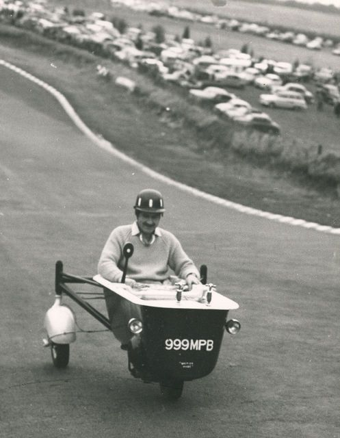 Graham Hill Riding A Motorised Bathtub In Brands Hatch