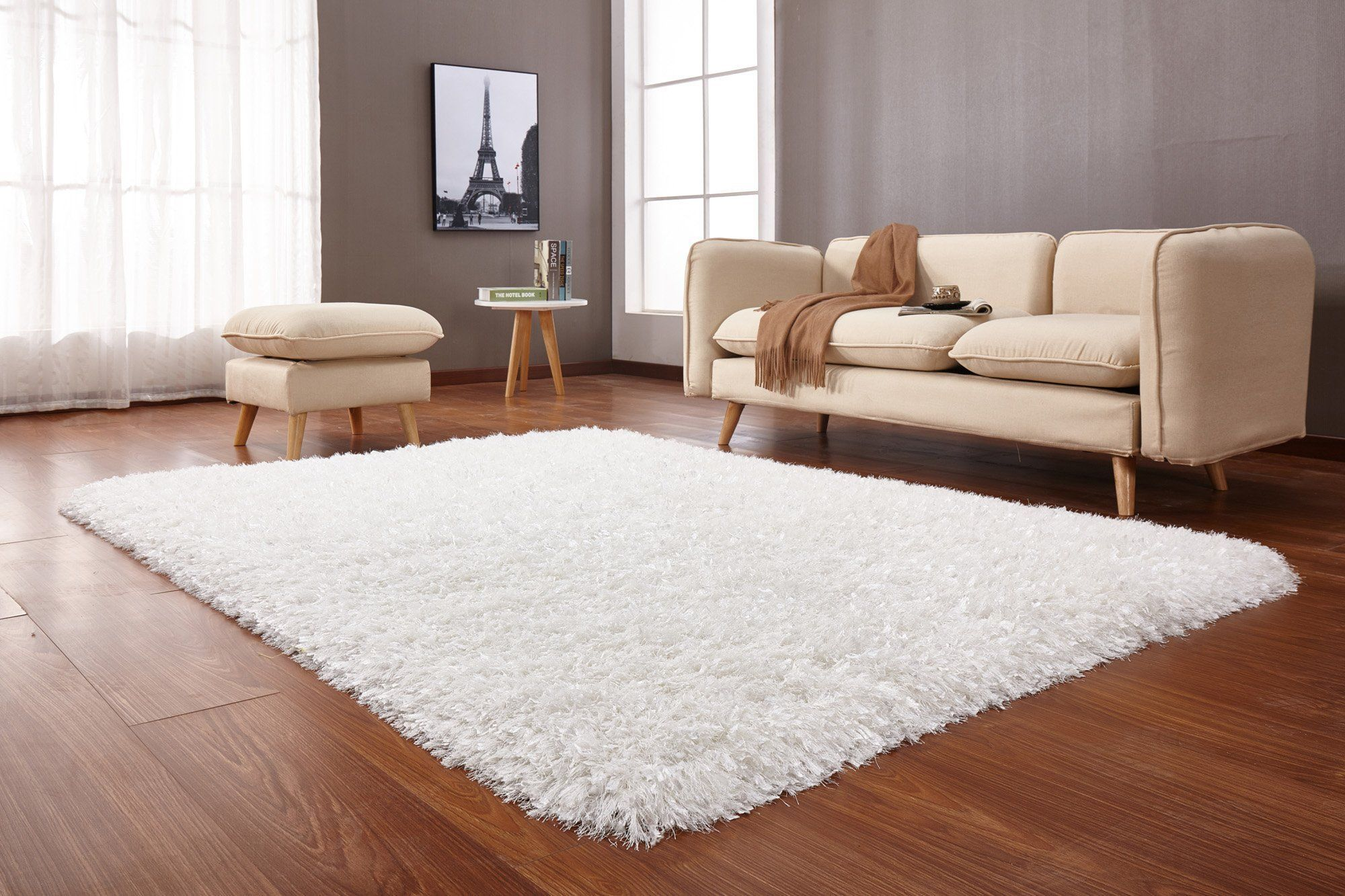 8 X 10 Large White Shag Rug Crystal White Shag Rug Shag Rug Rugs On Carpet Large white area rug