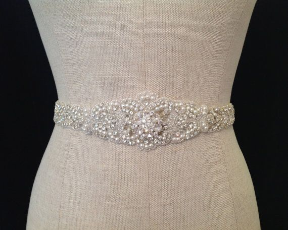 "Rhinestone Crystal ,Pearl and Lux Satin Bridal Sash ""The Antionette """