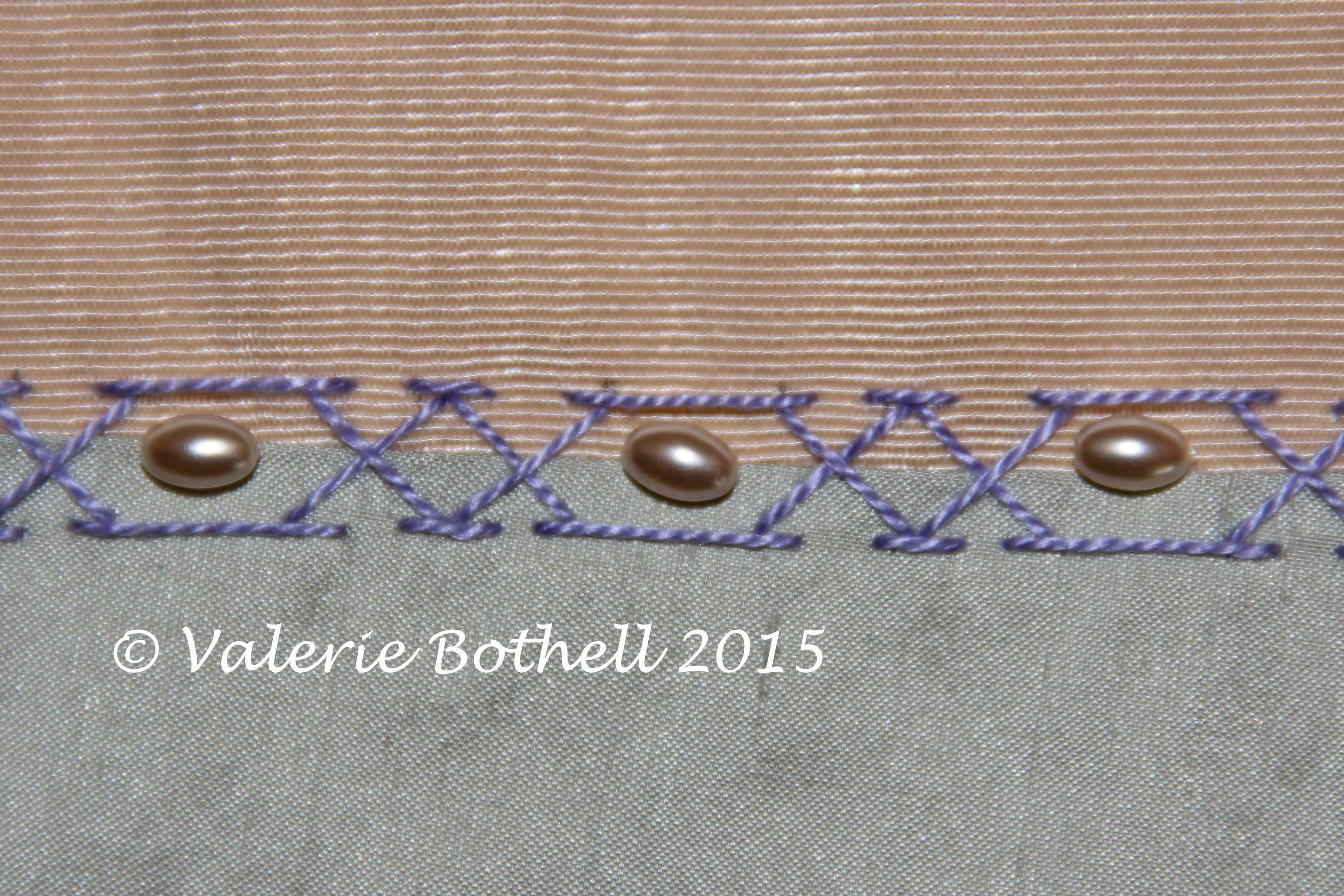 Stitch #104, Double Chevron Stitch + Pearls, notice how one of the Chevron Stitches has been manipulated.©Valerie Bothell 2015