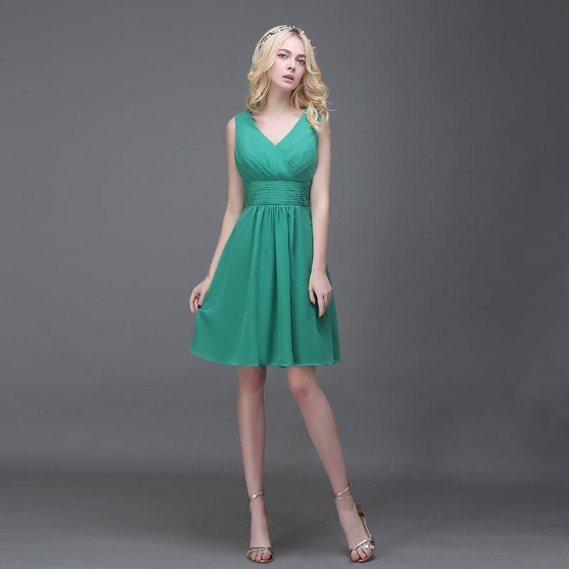 Günstige BH0 Elegante Short chiffon grün brautjungfernkleider mit V ...