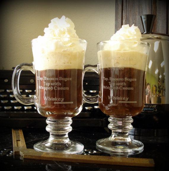 Irish Coffee Gles Engraved With Recipe
