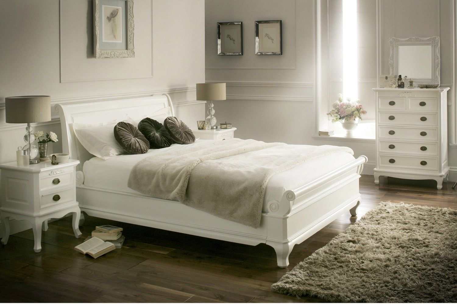 La louvier white wooden sleigh bed painted wood wooden for Bedroom designs with sleigh beds