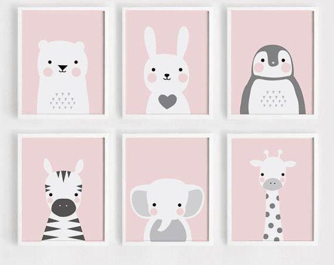 Rosa imprimible vivero pared arte conjunto de 4 póster bebé niña impresión niños decoración de la habitación quote Bunny jirafa estrella impresión digital descargar ARTsopoomc