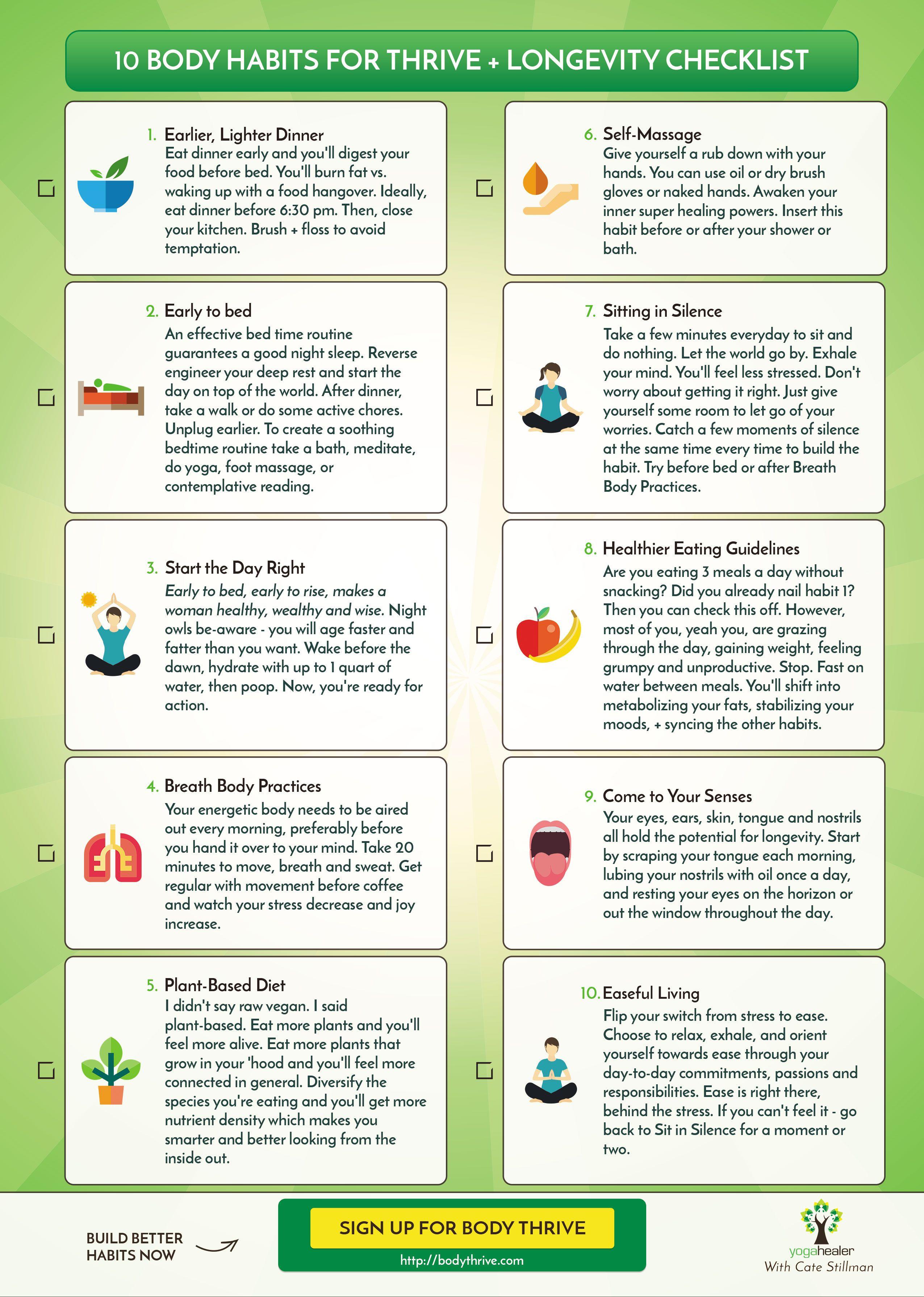 10 Habits Of Ayurveda Printable