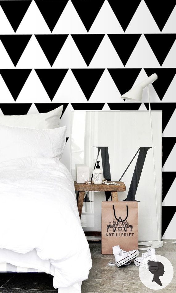Black Chevron Wallpaper Geomtric Removable Wallpaper Self Etsy Black Chevron Wallpaper Patterned Vinyl Chevron Wallpaper