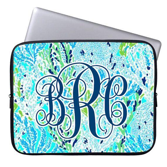 Lilly Pulitzer Laptop Sleeve-Monogram Laptop Sleeve by Pinkyey