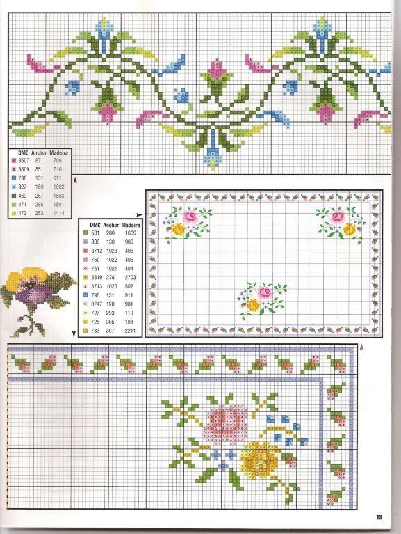 Pin de Paqui Triadú en Punt de creu | Pinterest | Flores, Punto de ...