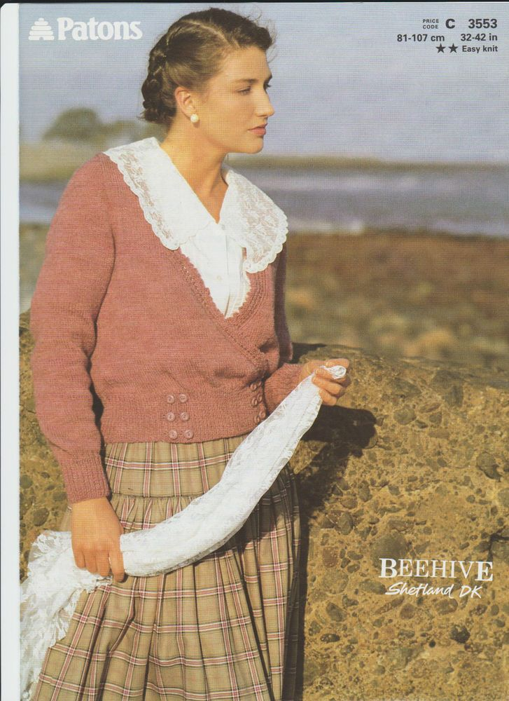 928db83e246a Knitting Pattern - Patons 3553 - Lady s Double Knit Wrapover Cardigan 32-42