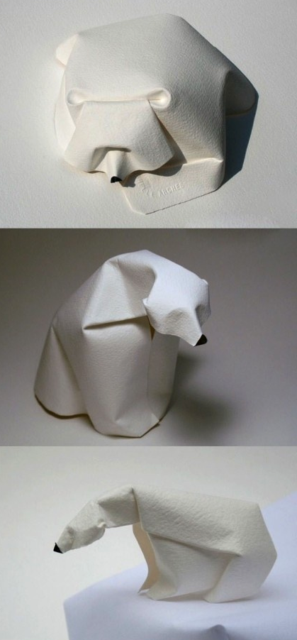 Origami Zoo by Dinh Truong Giang #Origami #Animals #polar #bear