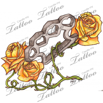 Brass Knuckles and Roses tattoo design | Gambling Tattoo ...